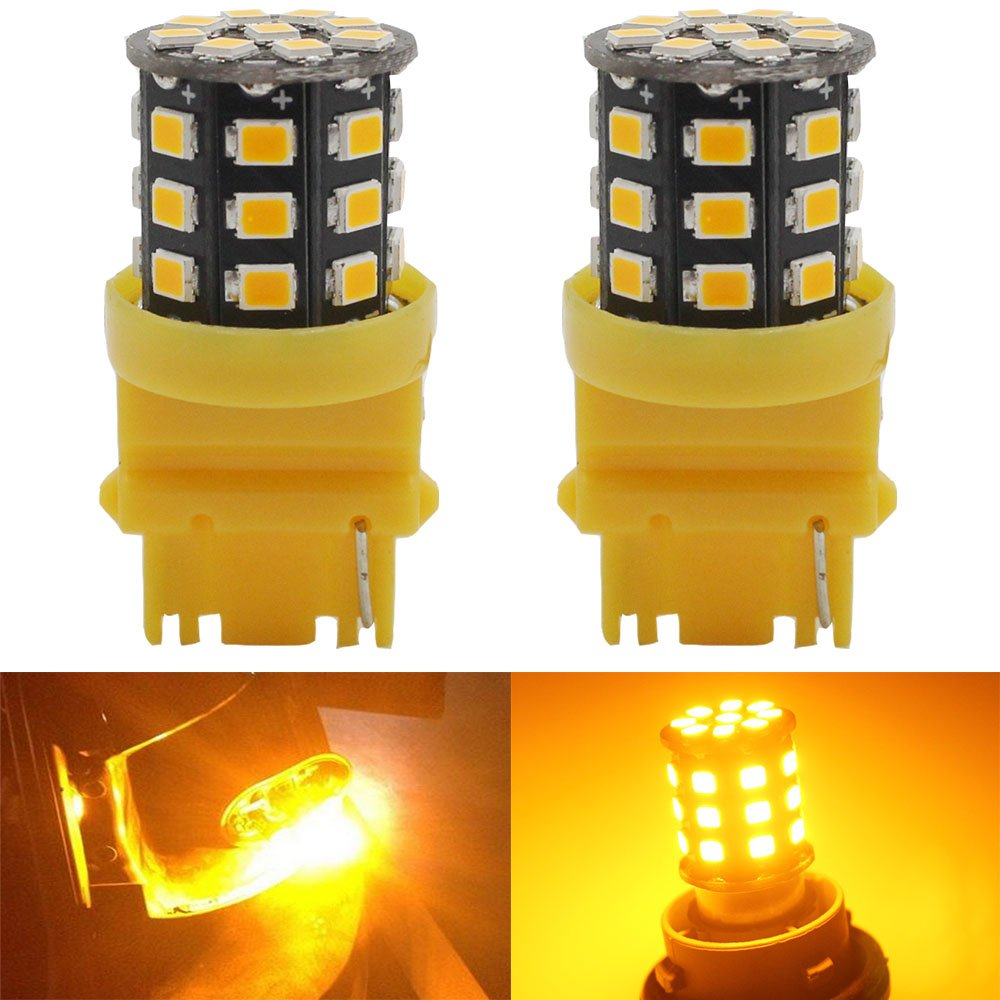 AMAZENAR 2-Pack 3156 3056 3156A 3456 Car Turn Signal Lights - 12V-24V Amber/Yellow Extremely Bright 600 Lumens 2835 33 SMD LED Light Bulb - Replacement for Tail Blinker LED Bulb