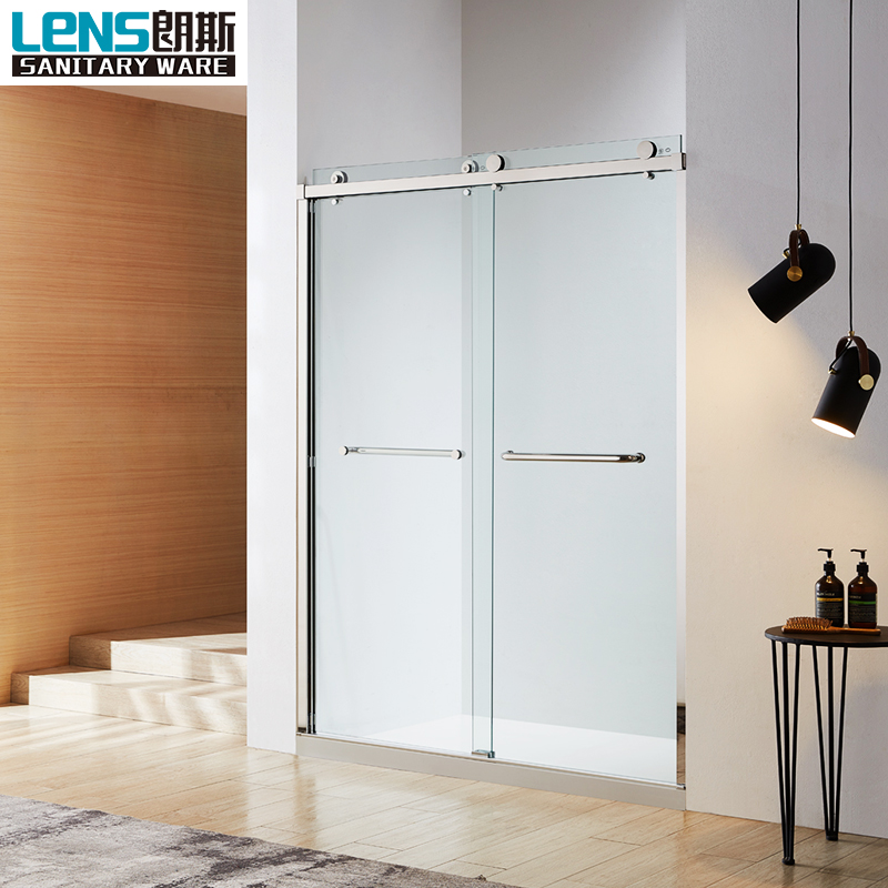 US frameless double sliding bypass shower door with big wheel