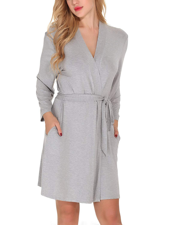 a5655a10d5 Get Quotations · Etopstek Women Bathrobes Breathable Robes Soft Kimono  Lightweight Short Cotton Loungewear Hotel Spa Robes