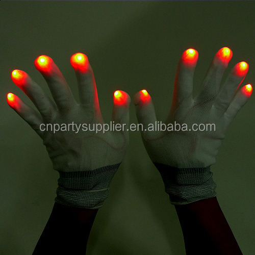 LED Rave Light Finger Lighting Flashing Glow Gloves with 7 Modes lighting