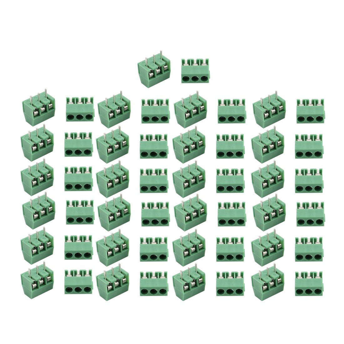 uxcell 50Pcs AC300V 10A 3P 3.5mm Pitch Screw Type PCB Terminal Blocks Connector Green