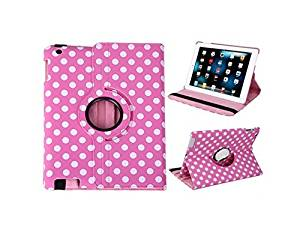 A-Smile@ Ipad 2,Ipad 3,Ipad 4 Leather Case,360 Degrees Rotating Stand Leather Smart Cover Case With Wake Sleep Capability For Ipad 2,Ipad 3,Ipad 4,(Pink With White Polka Dot)