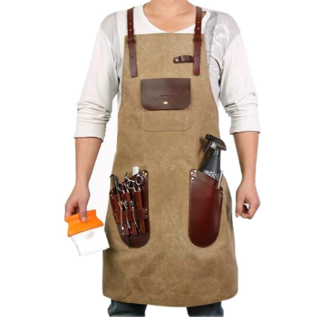 VANORIG Professional Waxed Canvas Barber Leather Apron
