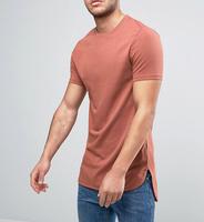100 Cotton T Shirts Wholesale Super Longline Muscle T-Shirt With Contrast Hem Extender