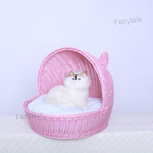 Plastic Willow Wicker Cat Bed PP Rattan Dog and Cat Bed