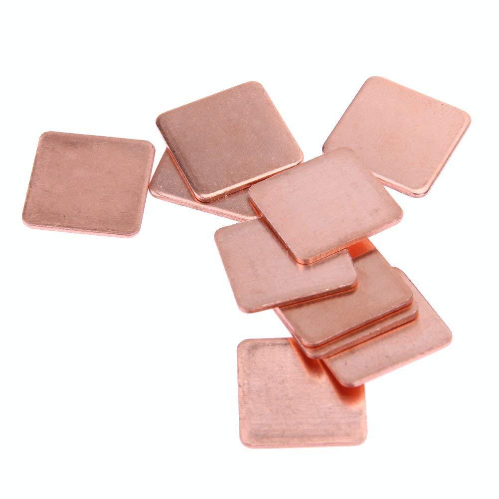 Alloet 10 Pcs 15mmx15mm Heatsink Copper Shim Thermal Pads Thickness: 0.3mm/0.4mm/0.5mm/0.6mm/0.8mm/1msm/1.2mm/1.5mm/1.8mm/2mm (2mm)