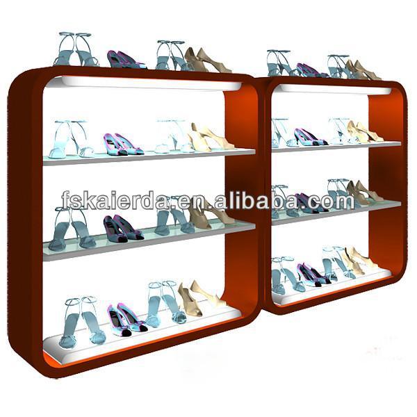 New Design Glass Shoe Rack Display For Shoe Showroom
