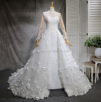 Nw1273 Scoop Neckline Long Sleeve 3d Flower Lace A-line Wedding ...
