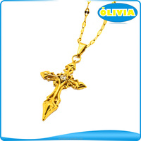 New Authentic 24k Yellow Gold Pendant Perfect Carved Unique Lucky Cross Necklace