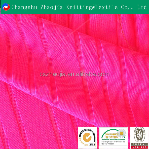 Stripe jacquard elastic polyester fabric for sportswear Oeko-Tex Standard 100 certificated from China factory