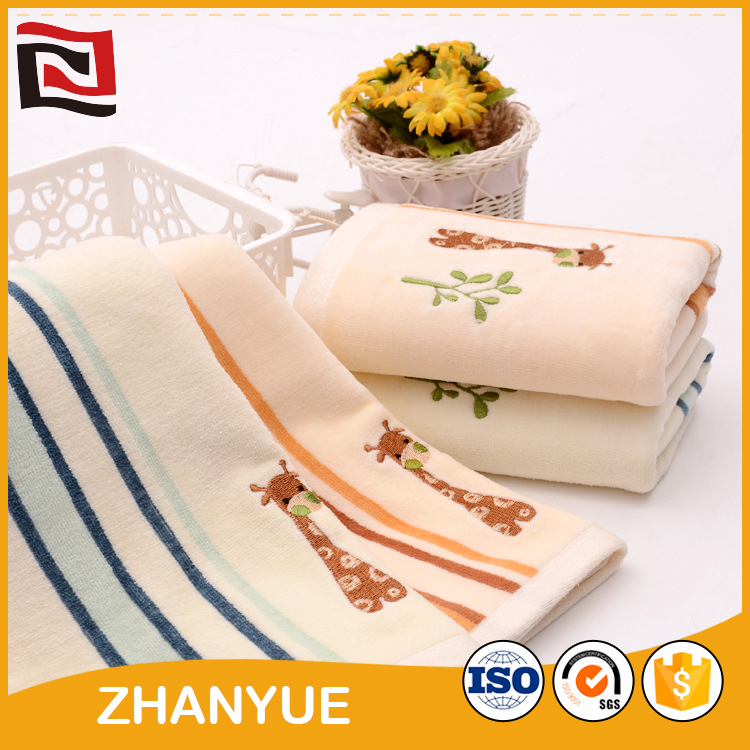 New designed china-made embroidery elephant design baby towel