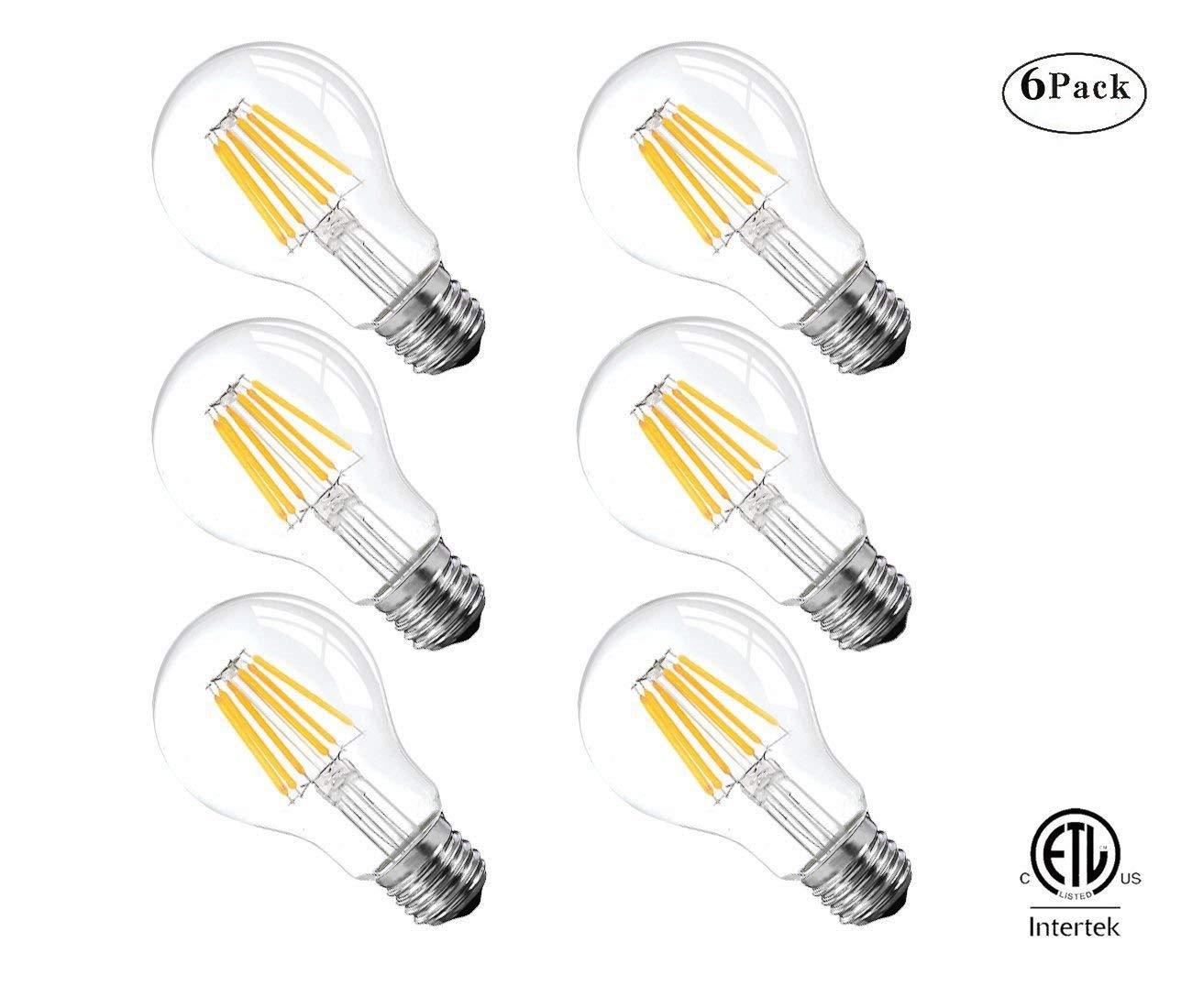 Vintage Edison LED Bulb, 6W Antique LED Bulb,Classic A19/A60 LED Light Bulbs, E26 Medium Base Lamp, 2700K Warm White, 600 Lumens,60 Watt Equivalent, Clear Glass Cover,Not-Dimmable,ETL Listed,6 Pack