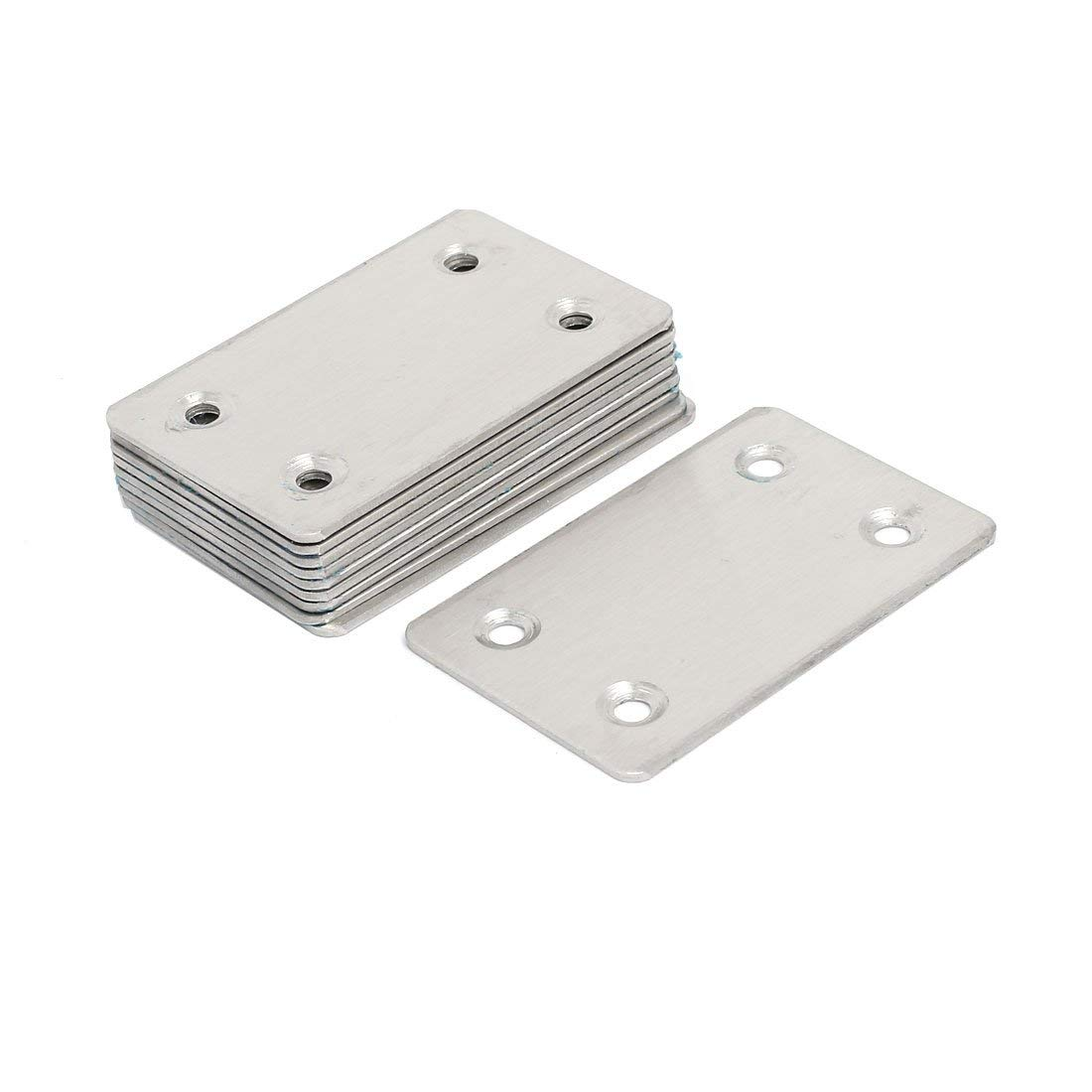 YXQ 50Pcs 2 Holes Flat Corner Brace Repair Plate Bracket 1.6 x 0.6 x 2mm Metal Stainless Steel Fixing Joining