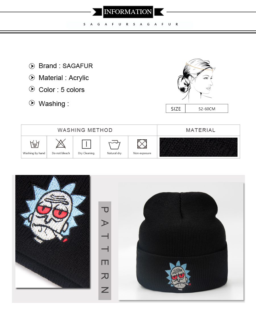Funny Embroidered Image Acrylic Knitted Beanie Hat Warm Adult Winter Hat Women and Mens Unisex Beanies Cap
