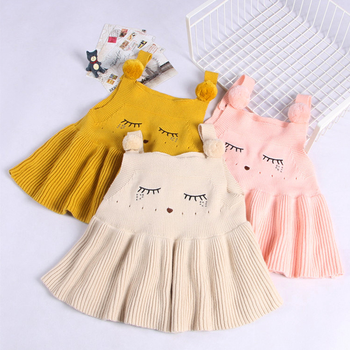 Wholesale fashion autumn and winter cotton baby girls suspender skirt wool knit suspender dress