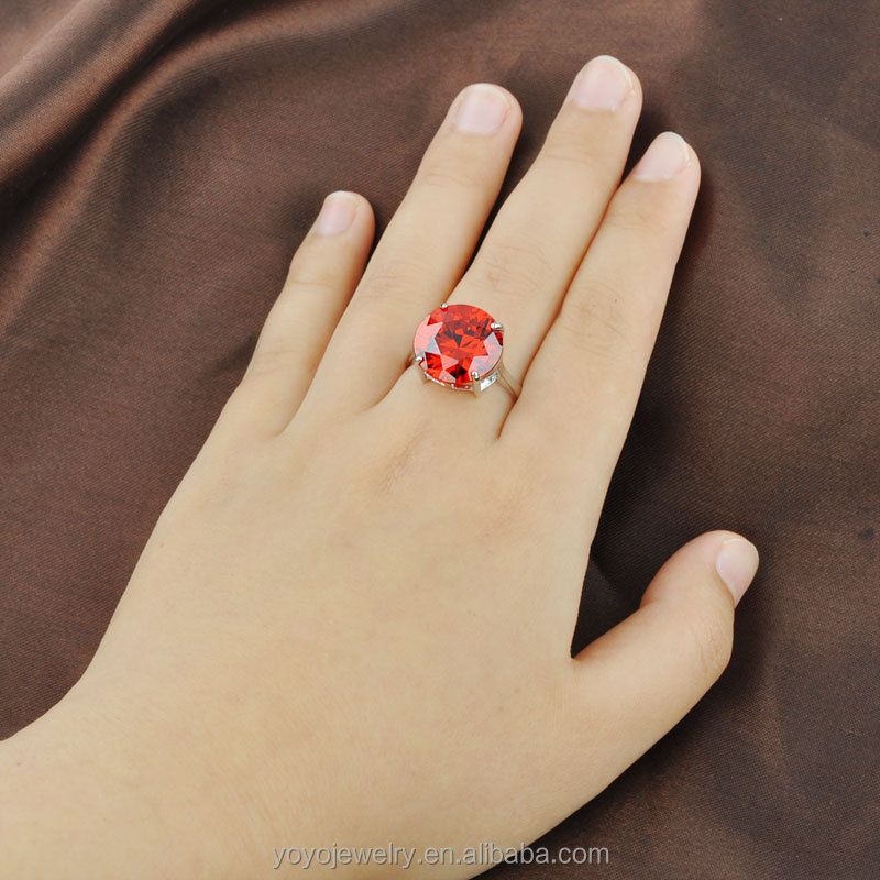 Simple design white gold plated big single zircon stone ruby ring