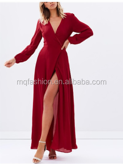 2017 Long Sleeve Maxi Wrap Dress