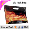 Yason pe red line zipper bag three side sealed plastic hanging ziplock bags/stand up foil pouches clear ldpe zipper bags