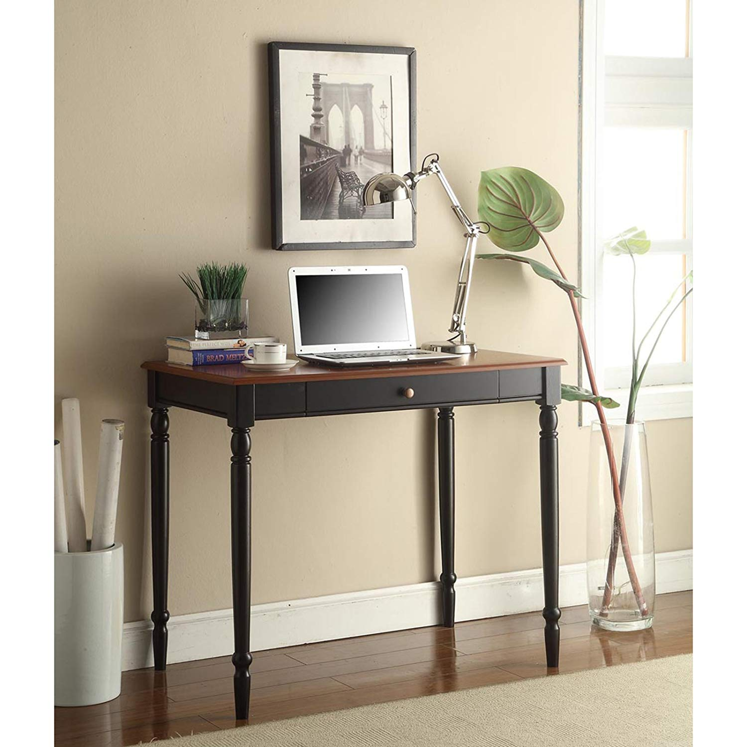 Cherry/Black Country Writing Desk, Office Furniture, Home, Keyboard Tray, Spacious Workspace, Solid Hardwoods, Wood, Indoor, Bundle with Our Expert Guide with Tips for Home Arrangement