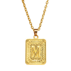 Fashion stainless steel pendant gold letter long chain necklace for men
