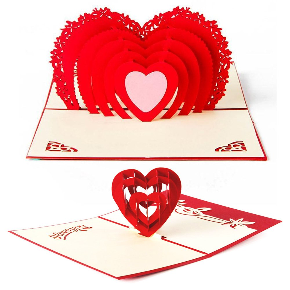 get quotations 3d love pop up cards and envelopes set of 2 romantic unique pop up greeting