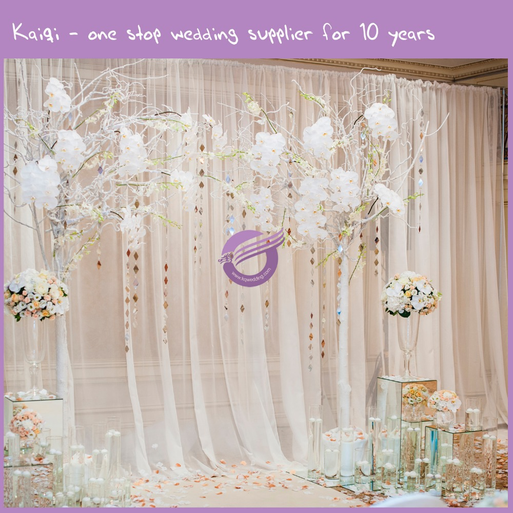 QF18632 New White Hot Stage Decoration Stand Curtain Voile Wedding Backdrop