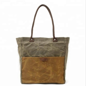 c1214f6938 KMC82059K Vintage lady waxed canvas cotton women tote bag with genuine  leather trim