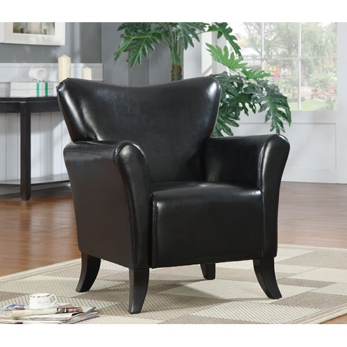 Coaster Casual Black Leatherette Upholstered Accent Chair