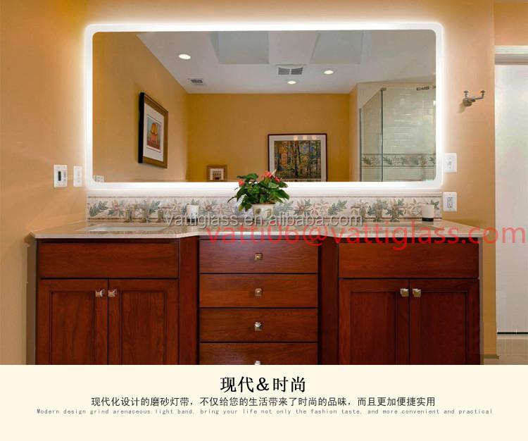 Luxury European Style Bathroom Mirror With Light Led Square Toilet Frameless Wall Antifog Waterproof