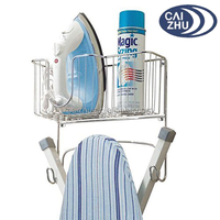 Wall Mount Ironing Board Holder with Large Storage Basket for Laundry Rooms