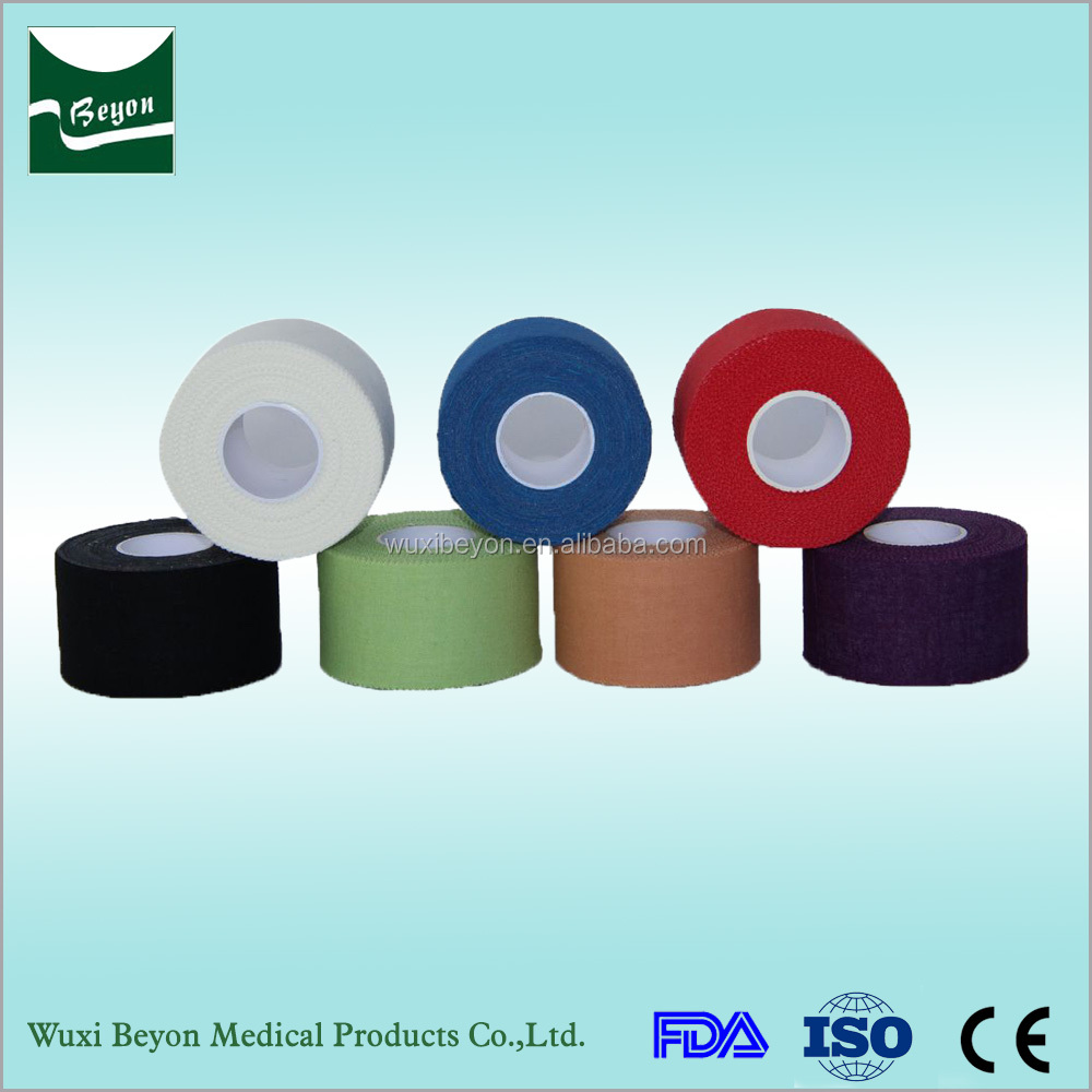 Top Quality Bottom Price 100% cotton comfortable coloured sports tape