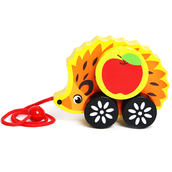 Children play educational walking function baby wooden pull along animal toy for kids