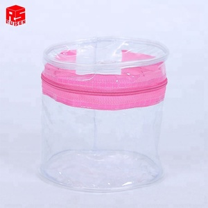 Promotion Round shape cosmetic clear pvc zipper bag clear plastic zipper bag