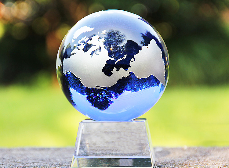 Exquisite World Map Sandblasted optical solid K9 glass blue Crystal Globe ball with base