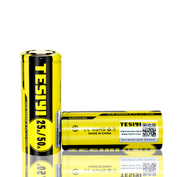 Wholesale Tesiyi charger 26650 4200mAh lithium ion power battery 26650 rechargeable 3.7V 4200mAh batteries 50A