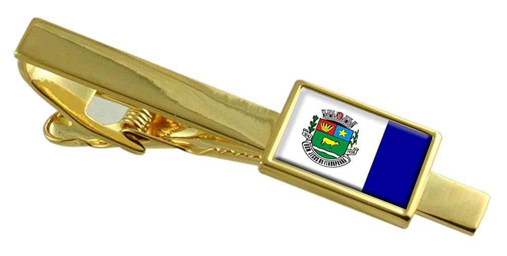 Bom Jardim City Rio de Janeiro State Flag Cufflinks Engraved Tie Clip Set