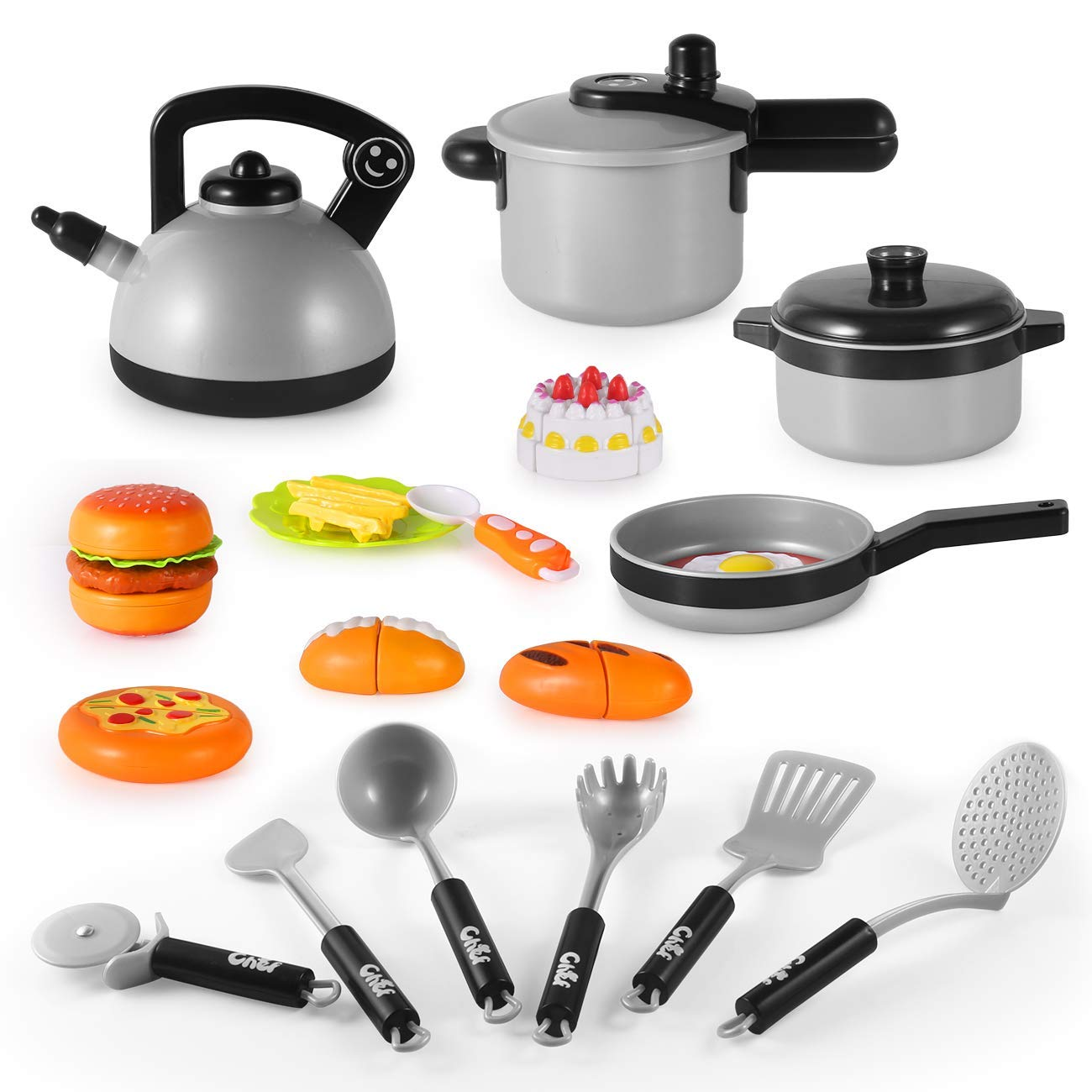 Pretend Play Kitchen Set for Kids, VANTAKOOL Kids Pretend Cooking Toys Cookware Playset for Kids with Pots & Pans Bundle for Kids, Learning Toy for 2 3 4 5 Year Olds Boys, Girls, Toddlers
