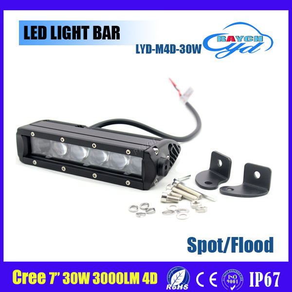 Hot sales 7inch 30W 3000LM 4D LED Light Bar for Jeep/Truck/SUV/Wrangler