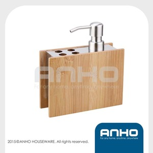 Bamboo soap dispenser&toothbrush holder
