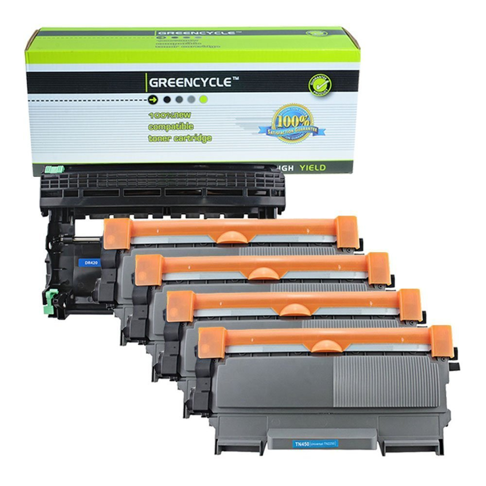 GREENCYCLE 4 Pack Compatible Toner Cartridge & Drum Unit Replacement Combo for Brother TN450 TN420 High Yield DR420