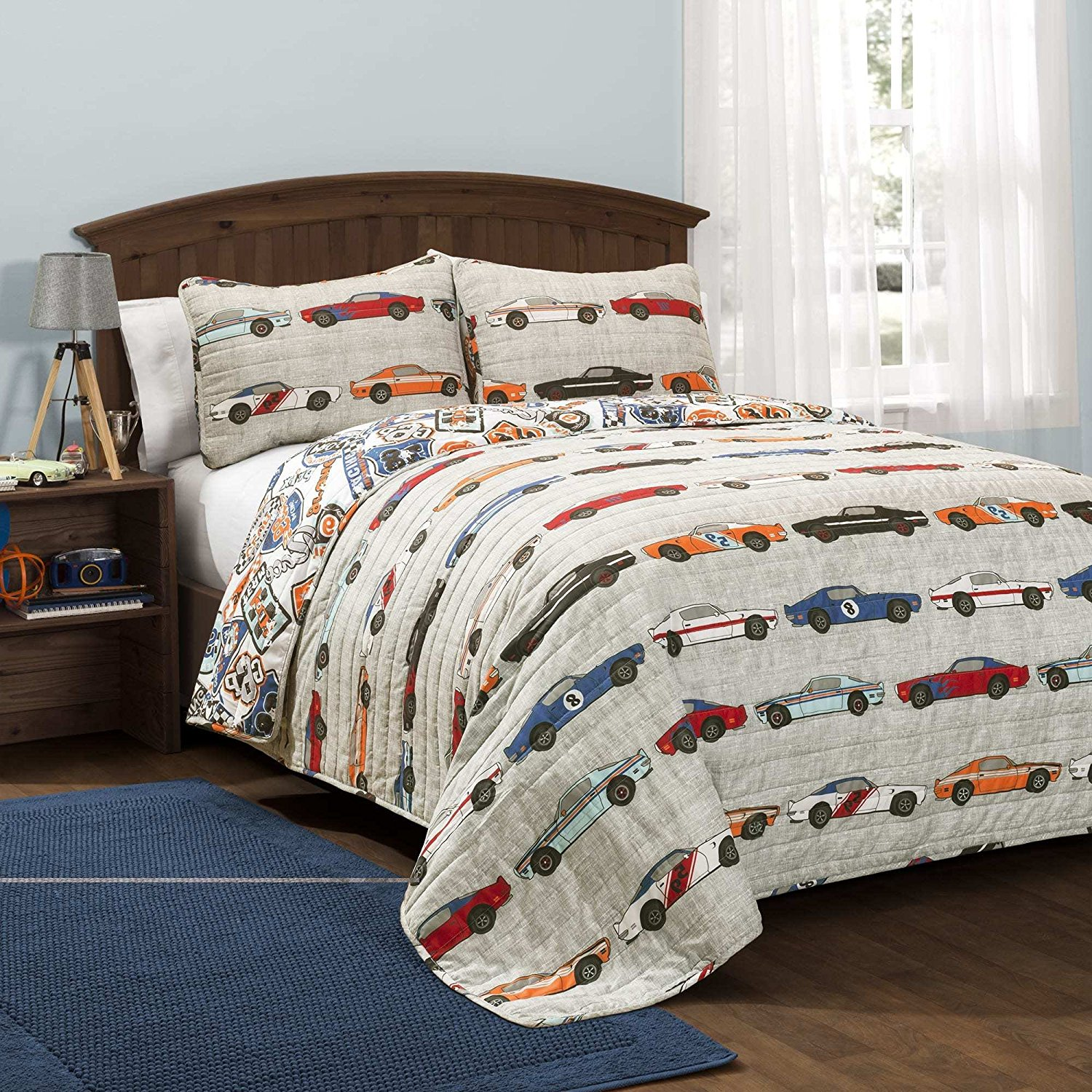 3 Piece Adorable Blue Red Yellow Grey White Full Queen Quilt Set, Race Car Themed Reversible Bedding Colorful Fun Cute Cars Road Novelty Boys Teen Kids Racing Auto, Polyester