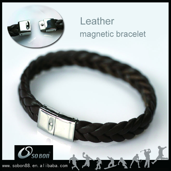 wrap braided leather bracelet wholesale with magnetic clasp pu leather/genuine leather