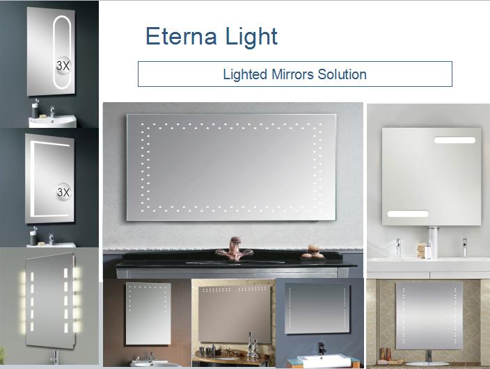 Eterna Rectangle Led Backlit Bathroom Mirror Vanity Lights