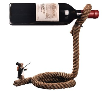 Home Decor Factory Custom figurine magic rabbit magician rope Wine Bottle Holder