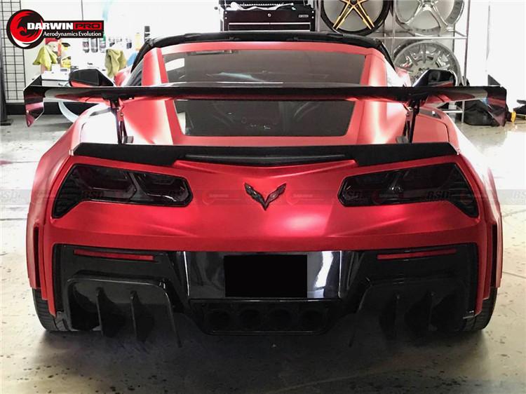 2014 2015 Corvette C7 Black Sails Style Carbon Fiber Rear