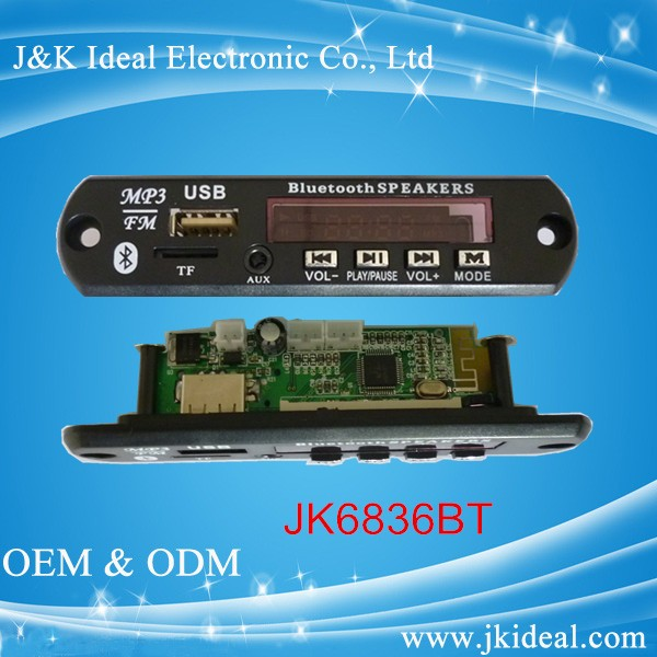 JK6836BT-MIC 20 hours Battery Life and Support USB/SD 32G Memory Size fm usb sd mp3 PCBA board