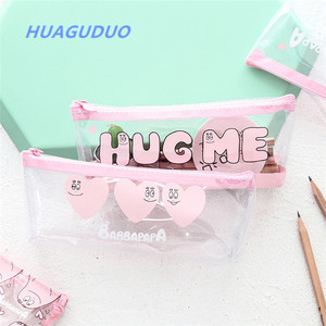 France cute school supplies china stationery market pink eva custom pencil case clear plastic printing pencil bag