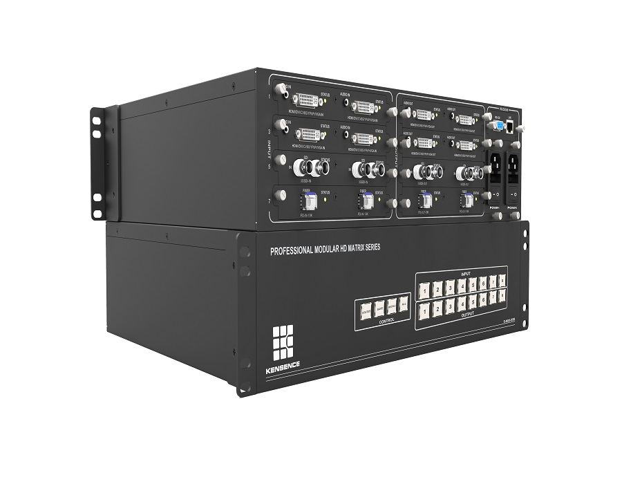 4K 4x8 8x8 18x18 32x32 card based modular matrix switcher HDMI HDbaseT supports CVBS,YPbPr,VGA,HDMI,DVI,3GSDI+ AUDIO,3GSDI