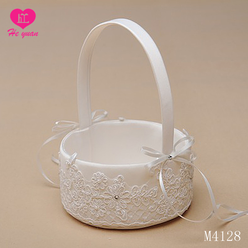 M4128Fantasy or cinderella theme Satin Flower Girl Basket for Wedding with Lovely Bowknots