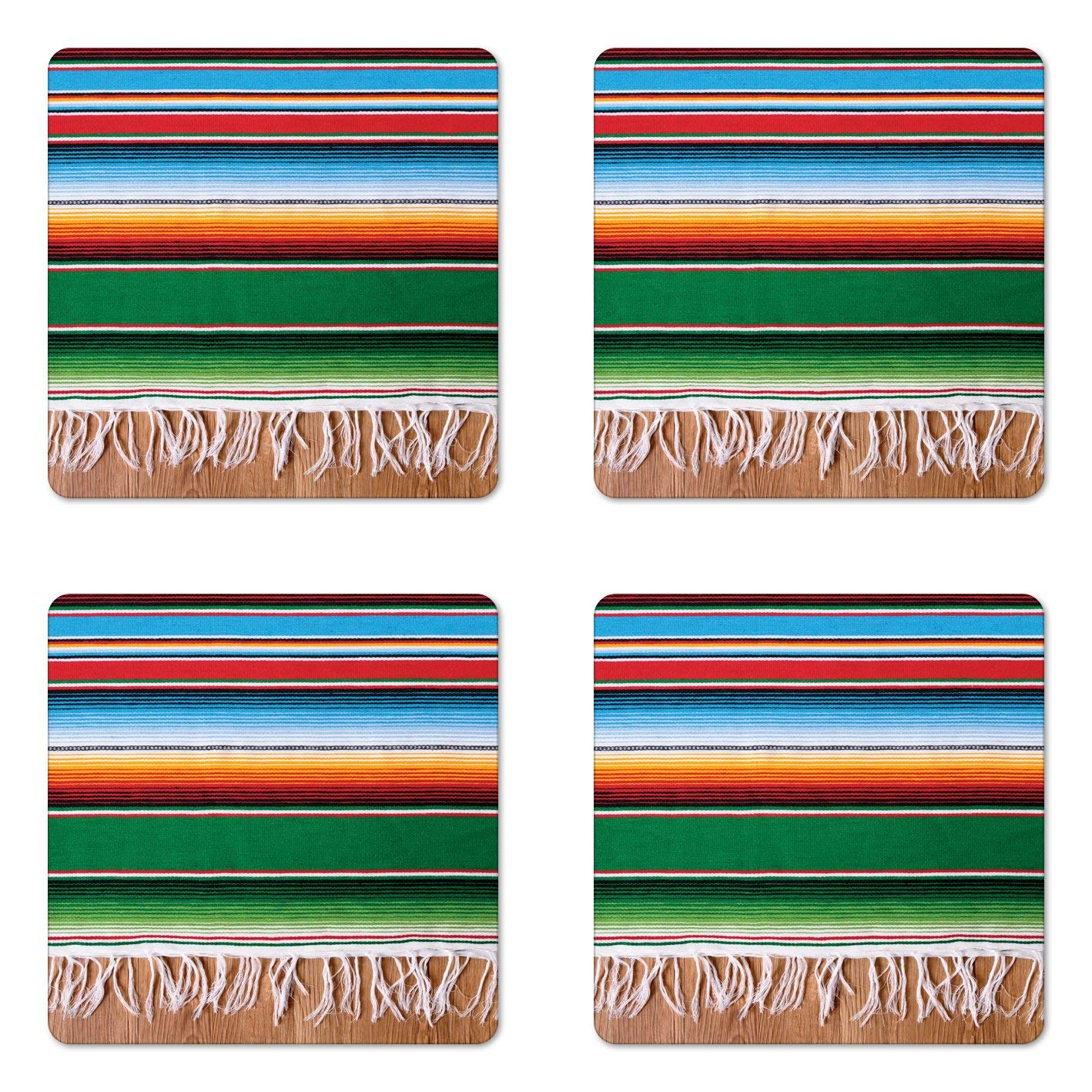 Lunarable Mexican Coaster Set of Four, Boho Serape Blanket with Horizontal Stripes and Lines Authentic Cultures Picture, Square Hardboard Gloss Coasters for Drinks, Multicolor